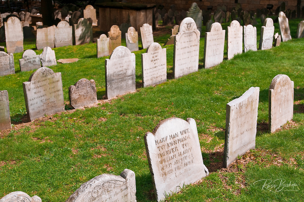 Tombstones at Kings Chapel Burial Ground on the Freedom Trail, Boston, Massachusetts