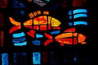 Maroc, Casablanca, Eglise Notre Dame de Lourdes, vitraux de Gabriel Loire // Morocco, Casablanca, Notre Dame de Lourdes Church, church window from Gabriel Loire