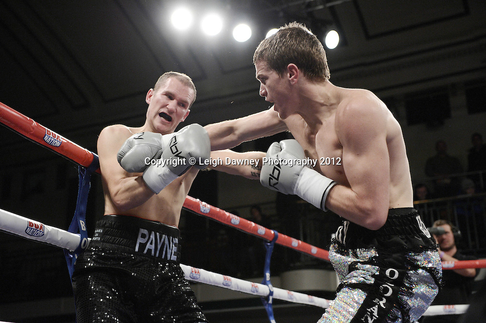 Gary Corcoran defeats Ross Payne in a Welterweight contest at York Hall, Bethnal Green, London on the 1st Novemeber 2012. Frank Warren Promotions. © Leigh Dawney Photography 2012.Gary Corcoran defeats Ross Payne in a Welterweight contest at York Hall, Bethnal Green, London on the 1st Novemeber 2012. Frank Warren Promotions. © Leigh Dawney Photography 2012.