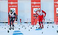 Langrenn<br /> FIS World Cup<br /> Val Müstair Sveits<br /> 01.01.2013<br /> Foto: Gepa/Digitalsport<br /> NORWAY ONLY<br /> <br /> FIS Weltcup, Tour de Ski, 1,4km Sprint der Herren. Bild zeigt Andrew Newell (USA) und Finn Hågen Krogh (NOR).