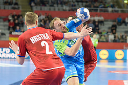 Ziga Mlakar of Slovenia during handball match between National teams of Slovenia and Czech Republic on Day 7 in Main Round of Men's EHF EURO 2018, on January 24, 2018 in Arena Varazdin, Varazdin, Croatia. Photo by Mario Horvat / Sportida
