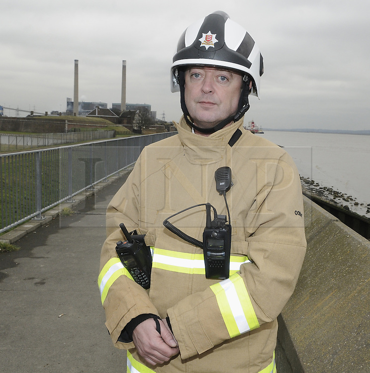 © Licensed to London News Pictures. 27/02/2012.Tilbury Power Station Fire. .Chief Fire Officer David Johnson.A huge blaze has broken out at a power station in Essex, in areas containing about 4,000 tonnes of wood pellets.The  blaze at Tilbury Power Station in the Thames estuary began just before 08:00 today (27.02.2012) and quickly engulfed the building in smoke..Photo credit : Grant Falvey/LNP