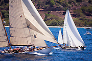Golden Eye and Eilean sailing in the Antigua Classic Yacht Regatta, Butterfly Race.