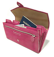 hot pink leather passport wallet by smythson