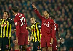 LIVERPOOL, ENGLAND - Wednesday, February 27, 2019: Liverpool's Virgil van Dijk during the FA Premier League match between Liverpool FC and Watford FC at Anfield. (Pic by Paul Greenwood/Propaganda)