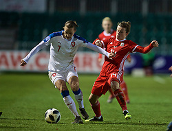 NEWPORT, WALES - Thursday, April 4, 2019: Czech Republic's Lucie Martínková (L) and Hayley Ladd during an International Friendly match between Wales and Czech Republic at Rodney Parade. (Pic by David Rawcliffe/Propaganda)