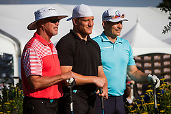 July 15, 2018 - Stateline, Nevada, U.S - JIM MCMAHON, AJ HAWK AND STEVE YOUNG pose for a photo before teeing off at the 29th annual American Century Championship at the Edgewood Tahoe Golf Course in Lake Tahoe, Stateline, Nevada, on Sunday, July 15, 2018. (Credit Image: © Tracy Barbutes via ZUMA Wire)