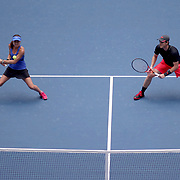 2017 U.S. Open Tennis Tournament - DAY THIRTEEN. Martina Hingis of Switzerland and Jamie Murray of Great Britain in action while winning the Mixed Doubles Final against Hao-Ching Chan of Chinese Taipei and Michael Venus of New Zealand at the US Open Tennis Tournament at the USTA Billie Jean King National Tennis Center on September 09, 2017 in Flushing, Queens, New York City.  (Photo by Tim Clayton/Corbis via Getty Images)