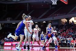 NORMAL, IL - January 06: Sara Rhine controls a rebound during a college women's basketball game between the ISU Redbirds and the Drake Bulldogs on January 06 2019 at Redbird Arena in Normal, IL. (Photo by Alan Look)