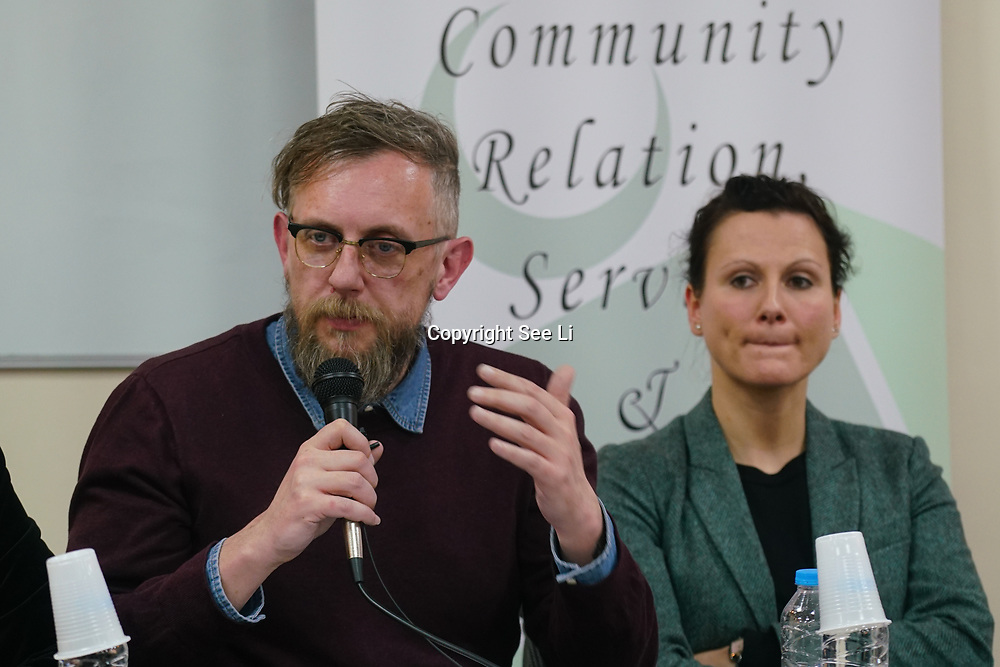 """London, England, UK. 29th November 2017. DR Chris Allen is a Lecturer, Department of Social Policy, Sociology and Criminology, University of Birmingham join the debate """"Confronting anti-muslim hate crimes in Britain"""" challenges and opportunities."""