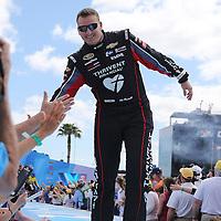 Race car driver Michael McDowell is seen during driver introductions prior to the 58th Annual NASCAR Daytona 500 auto race at Daytona International Speedway on Sunday, February 21, 2016 in Daytona Beach, Florida.  (Alex Menendez via AP)