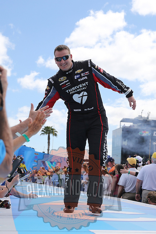 Race car driver Michael McDowell is seen during driver introductions prior to the 58th Annual NASCAR Daytona 500 auto race at Daytona International Speedway on Sunday, February 21, 2016 in Daytona Beach, Florida.  (Alex Menendez via AP)