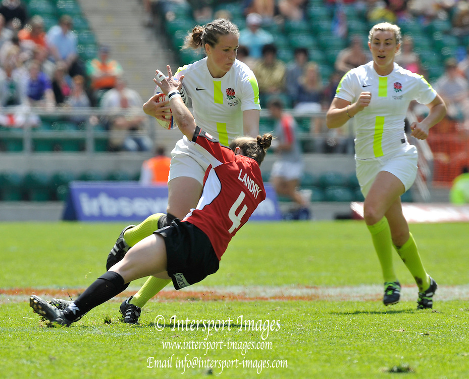 Twickenham. Great Britain,  England vs Canada,  Englands', Emily SCARETT, breaking through to score a second try,  during the 2012 IRB  Women's Sevens Challenge Cup Rugby, London, played at the RFU Stadium, England on Sunday  13/05/2012     ..[Mandatory Credit. Peter Spurrier/Intersport Images]