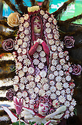 Our Lady of Guadalupe carved from radishes, with radish stars, radish roses, and radish cherub. Noche de Rabanos, Oaxaca, Mexico