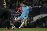 Leroy Sané (Manchester City) takes a shot during the Champions League match between Manchester City and Celtic at the Etihad Stadium, Manchester, England on 6 December 2016. Photo by Mark P Doherty.