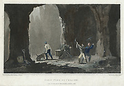 Rock Salt: Miners at work in salt mine near Cracow, Poland. Hand-coloured engraving, London, 1820.
