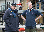 London, Great Britain.  Chas NEWENS [left], and Pat LOCKLEY [right], Equipment & Boat House Manager, OUBC,  relax prior to Pre Boat race fixture over the Championship Course  River Thames.  Saturday  12/03/2011 [Mandatory Credit; Karon Phillips/Intersport Images]..
