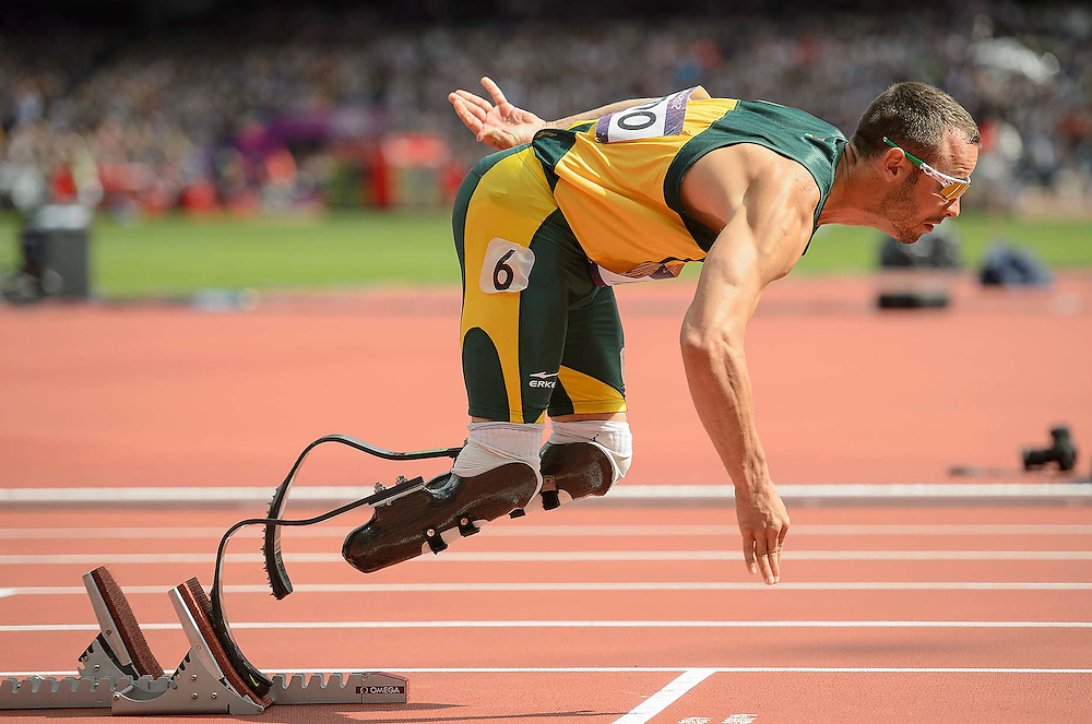 Athletics- Day 8:  Oscar Pistorius out of the starting blocks at the Olympic Stadium, during the 2012 London Olympic Games.