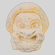 Digitally enhanced image of a 2nd Century BCE marble Theatre mask, (Ruler slave)