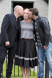 Repro Free: 15/09/2014 <br />  Clelia Murphy (Niamh Brennan) caught in the middle again with Tony Tormey (Paul Brennan) and Richard McWilliams (Michael O'Brien) are pictured on the set of Fair City to celebrate its 25th anniversary and pay tribute to Ireland&rsquo;s most popular and longest running soap. Picture Andres Poveda