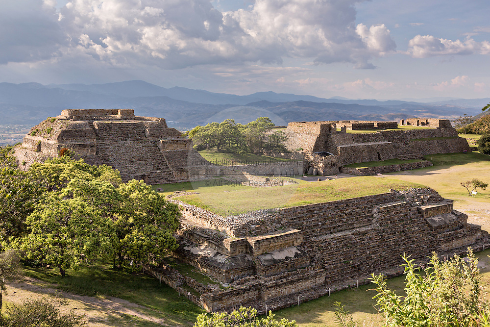 The building of the Danzantes of Monte Albán pre-Columbian archaeological site in the Santa Cruz Xoxocotlán, Oaxaca, Mexico.