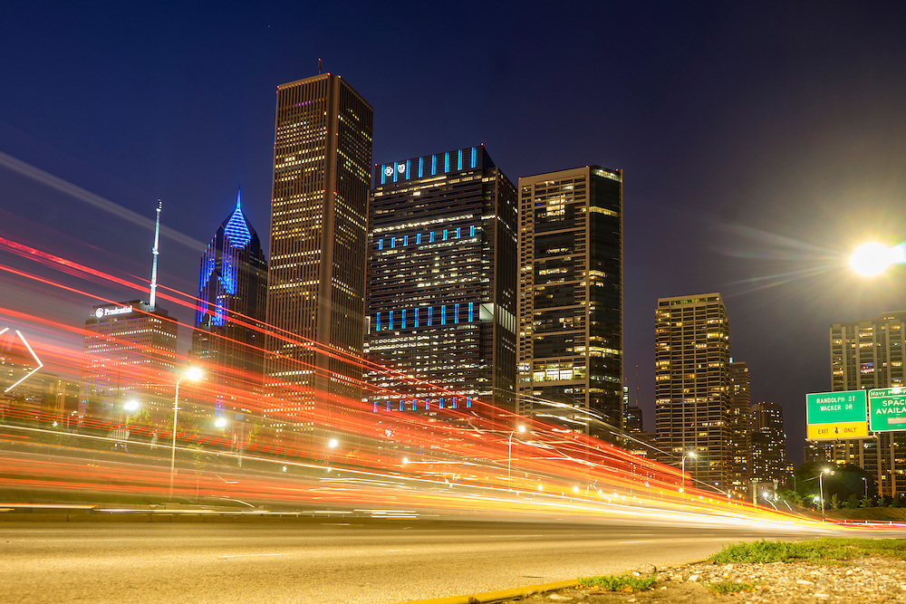 Light streaks of cars on Lakeshore Drive, Chicago