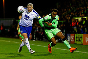 Tranmere Rovers defender Steve McNulty (5) battles with Forest Green Rovers midfielder Tahvon Campbell (14)  during the EFL Sky Bet League 2 match between Forest Green Rovers and Tranmere Rovers at the New Lawn, Forest Green, United Kingdom on 23 October 2018.