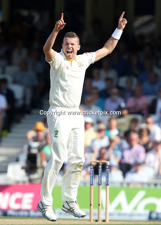 Peter Siddle of Australia celebrates taking the wicket of Adam Lyth of England. England v Australia, 5th and final Ashes Test, Day 2, Oval, London. 21/08/2015 © Matthew Impey/www.cricketpix.com