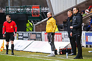 Oran Kearney St Mirren Manager, Livingston FC Manager Gary Holt & Livingston FC Asst Manager David Martindale looking on during the Ladbrokes Scottish Premiership match between St Mirren and Livingston at the Simple Digital Arena, Paisley, Scotland on 2nd March 2019.