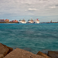 Nassau Harbour, the Light House and Cruise Ships in port at Nassau