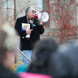 State Reprsentative George Kipp speaks at a rally Monday on the capital steps. The rally wanted to bring attaention to the DAPL protest and to tell governor Bullcok top not to send law enforcement officers to North Dakota.