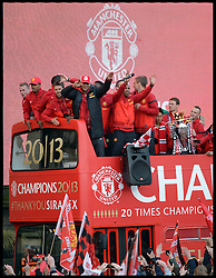 Manchester United players arrive in Albert Square, Manchester,  As Manchester United celebrate winning their 20th league title winning the Premier League, Monday May 13, 2013. Photo by: Andrew Parsons / i-Images
