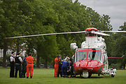 An AgustaWestland AW139 helicopter operated by the UK Coastguard rescue has brriefly landed in Ruskin Park to deliver an emergency patient, on 8th June 2017, in the south London borough of Lambeth, England. The AW139 is used by Her Majesty's Coastguard (HMCG) which is a section of the Maritime and Coastguard Agency responsible for the initiation and co-ordination of all maritime search and rescue (SAR) within the UK Maritime Search and Rescue Region.