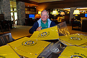DUBLIN, OHIO - JUNE 04:  Tournament Host Jack Nicklaus signs flags in the locker room during the third round of the Memorial Tournament presented by Nationwide at Muirfield Village Golf Club on June 4, 2016 in Dublin, Ohio. (Photo by Chris Condon/PGA TOUR)