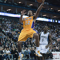 04 October 2010: Los Angeles Lakers guard Shannon Brown #12 goes to the basket past Minnesota Timberwolves forward Martell Webster #5 during the Minnesota Timberwolves 111-92 victory over the Los Angeles Lakers, during 2010 NBA Europe Live, at the O2 Arena in London, England.