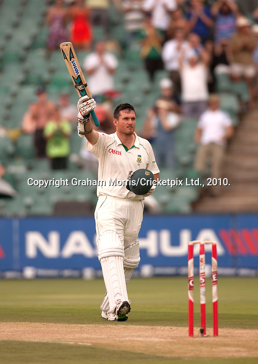 Graeme Smith celebrates his century during the fourth and final Test Match between South Africa and England at the Wanderers Stadium, Johannesburg. Photograph © Graham Morris/cricketpix.com (Tel: +44 (0)20 8969 4192; Email: sales@cricketpix.com)