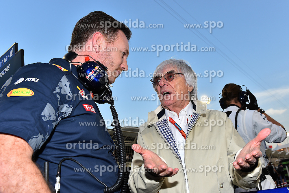 03.04.2016, International Circuit, Sakhir, BHR, FIA, Formel 1, Grand Prix von Bahrain, Rennen, im Bild Christian Horner (GBR) Red Bull Racing Team Principal and Bernie Ecclestone (GBR) CEO Formula One Group (FOM) on the grid // during Race for the FIA Formula One Grand Prix of Bahrain at the International Circuit in Sakhir, Bahrain on 2016/04/03. EXPA Pictures &copy; 2016, PhotoCredit: EXPA/ Sutton Images<br /> <br /> *****ATTENTION - for AUT, SLO, CRO, SRB, BIH, MAZ only*****
