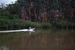 Visitors speed down the Sale River in Doubtful Bay in the Kimberley wet season.