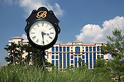 FLORENCE, IN - JUNE 24: Detail view of a large clock in front of the resort hotel as seen near the first tee at Belterra Golf Club at the Belterra Casino Resort and Spa on June 24, 2009 in Florence, Indiana. (Photo by Joe Robbins)