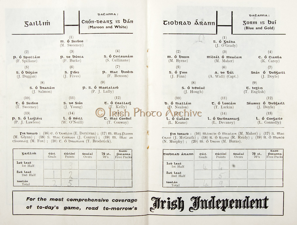 All Ireland Senior Hurling Championship Final,.07.09.1958, 09.07.1958, 7th September 1958,.Minor Galway v Limerick, .Senior Galway v Tipperary, Tipperary 4-09. Galway 2-05,..Galway, M Sweeney, F Spillane, P Burke, S Cullinane, J Duggan, J Fives, F Benson, J Salmon, P J. Lally, T Sweeney, J Young, T Kelly,  P J Lawless, W. O'Neill, T Conway, Subs, E Derrivan, M Glynn, J Conroy, M Fox, T Broderick,..Tipperary, J O'Grady, M Byrne, M Maher, K Carey, J Finn, A Wall (Capt), J Doyle, J Hough, T English, D Nealon, T Larkin, J Doyle, L Keane, L Devaney, L Connolly, M Maher, J McGrath, R Reidy, N Murphy, M Burns,..Advertisement, Irish Independent,