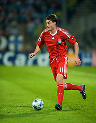 MARSEILLE, FRANCE - Tuesday, September 16, 2008: Liverpool's Albert Riera in action against Olympique de Marseille during the opening UEFA Champions League Group D match at the Stade Velodrome. (Photo by David Rawcliffe/Propaganda)