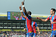 Yannick Bolasie celebrates his goal by dedicating it to his recently passed father during the Barclays Premier League match between Crystal Palace and West Bromwich Albion at Selhurst Park, London, England on 3 October 2015. Photo by Michael Hulf.