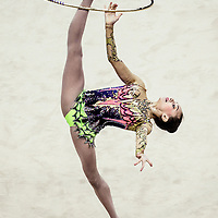 Anna Luiza Filiorianu of Romania competes in the Women's Rhythmic Gymnastics Individual All-Round qualification at the Nanjing Olympic Sports Center Gymnasium during the Nanjing 2014 Youth Olympic Games in Nanjing, China 26 August 2014