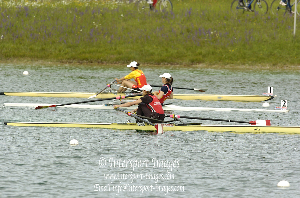 Munich, GERMANY, LW 1X Final CAN LW1X, ESP LW1X and CHN LW1X approaching the finishing line, 2006, FISA, Rowing, World Cup, on the Olympic Regatta Course, Munich,Sat.  27.05.2006. © Peter Spurrier/Intersport-images.com,  / Mobile +44 [0] 7973 819 551 / email images@intersport-images.com.[Mandatory Credit, Peter Spurier/ Intersport Images] Rowing Course, Olympic Regatta Rowing Course, Munich, GERMANY