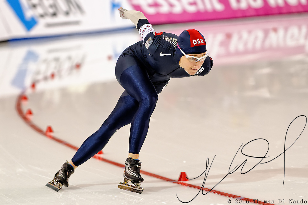 Jennifer Rodriguez (USA) competes in the 1000m distance at the Essent ISU World Cup Speed Skating event held at the Utah Olympic Oval in Salt Lake City (USA) - March 6-7, 2009.
