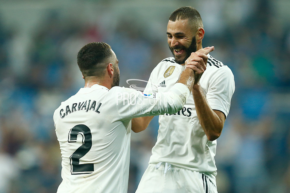 Real Madrid's French forward Karim Benzema celebrates after scoring during the Spanish championship Liga football match between Real Madrid CF and Leganes on September 1, 2018 at Santiago Bernabeu stadium in Madrid, Spain - Photo Benjamin Cremel / ProSportsImages / DPPI