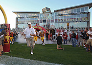 September 2 2010: Iowa State head coach Paul Rhoads leads his team onto the field before the first half of the NCAA football game between the Northern Illinois Huskies and the Iowa State Cyclones at Jack Trice Stadium in Ames, Iowa on Thursday September 2, 2010. Iowa State defeated Northern Illinois 27-10.