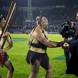 Warrior's presentation of Taiaha to Sam Warburton, Toll Stadium, Whangarei game 1 of the British and Irish Lions 2017 Tour of New Zealand,The match between Provincial Union Team and British and Irish Lions,Saturday 3rd June 2017   <br /> <br /> (Photo by Kevin Booth Steve Haag Sports)<br /> <br /> Images for social media must have consent from Steve Haag