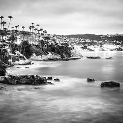 Laguna Beach California city black and white photo. Laguna Beach is a Southern California beach city along the Pacific Ocean.