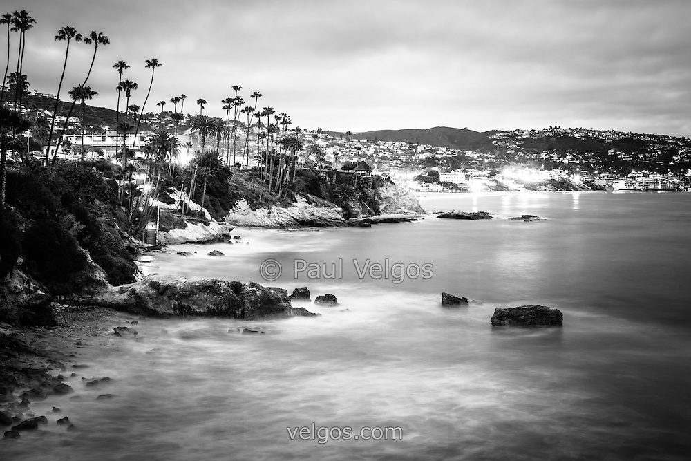 Black And White Photography Wall Art laguna beach california city black and white photo | buy canvas